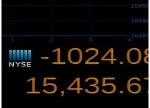 Снижение Dow Jones на тысячу пунктов